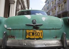 Cubana Production Service Cuba Photo green car
