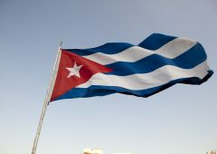 Cuban flag in the sky