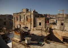 Stone building in slum area havana