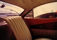 backseat of an old car
