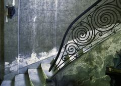 stone stair with steel railing
