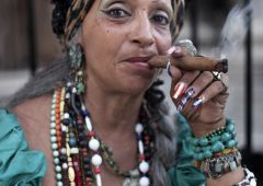 woman smoking cuban cigar