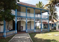 blue and white wooden house